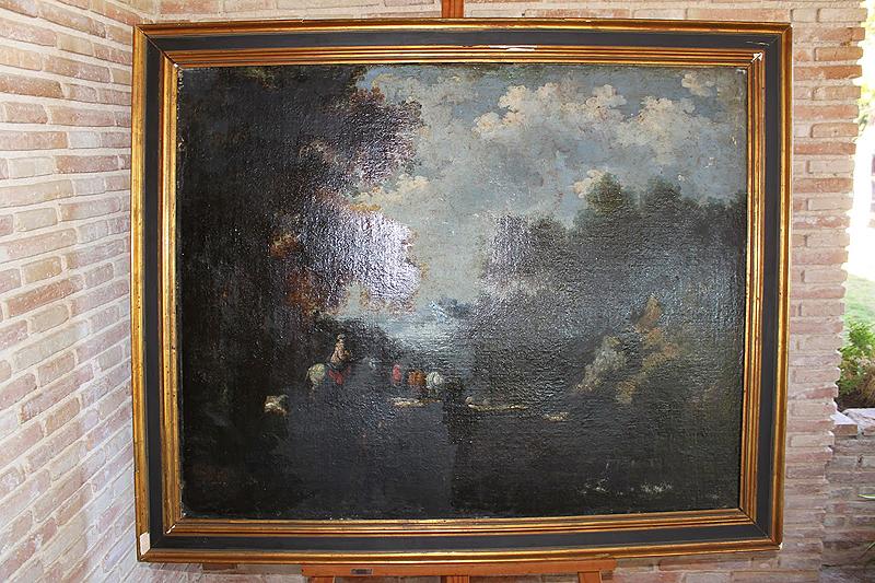 """Estado de conservación de la obra antes de la restauración """"Paisaje con figuras"""" Óleo/ lienzo Anónimo (Escuela holandesa) s. XVII 87´5 x 117´5 cm"""