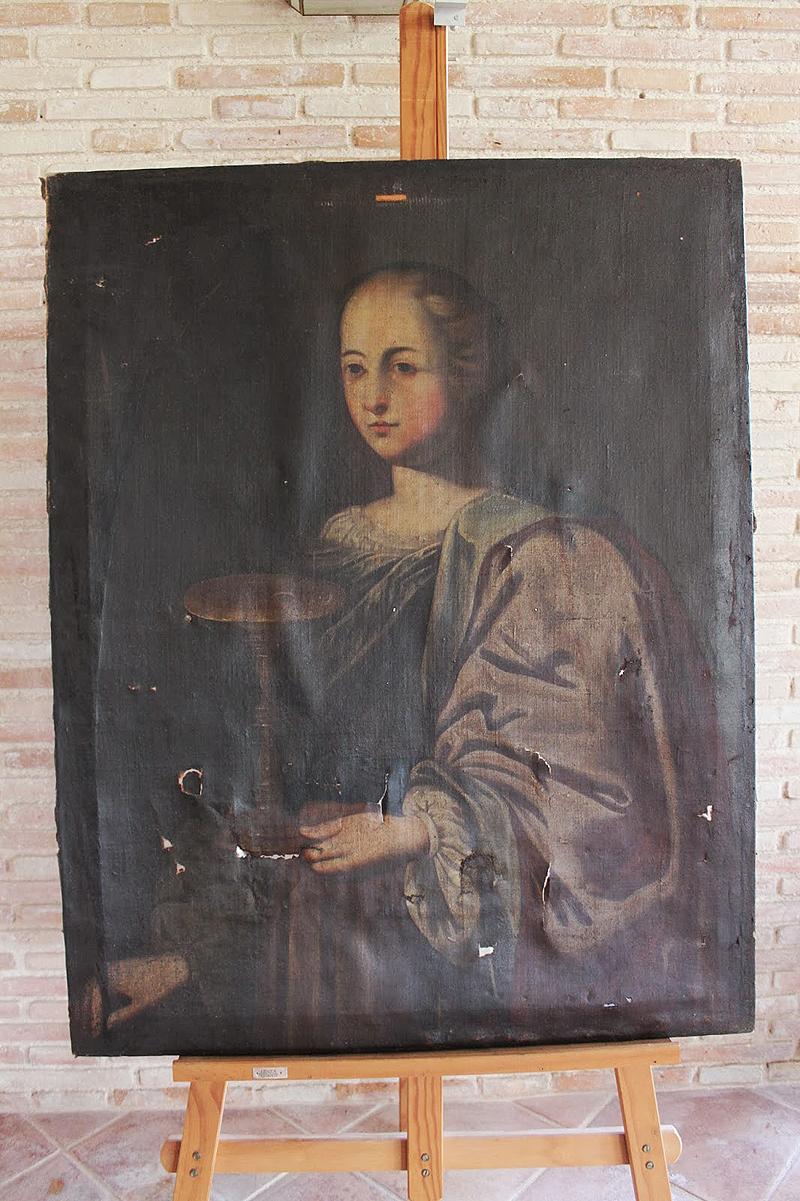 """Santa Lucía"" Óleo/lienzo Anónimo (escuela española) 107 x 84 cm S. XVII"