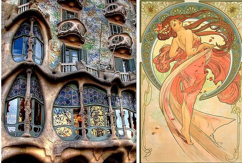 Exterior de la casa Batlló (Barcelona) Ilustración de Alphonse Mucha