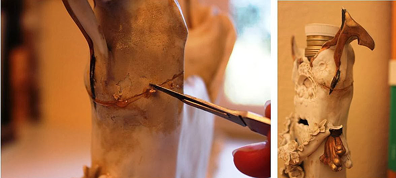 Repintes, roturas y pérdida de un asa del jarrón
