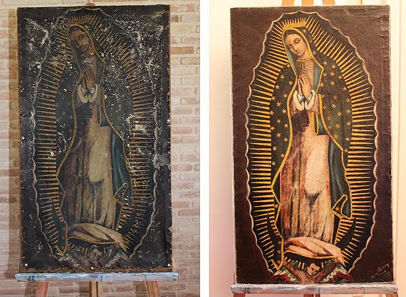 Vista completa de la obra. Antes y después de la restauración