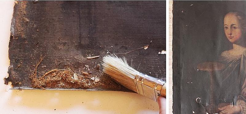 Suciedad acumulada en el reverso. Barnices oxidados que no permiten observar la imagen