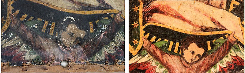 Detalle del ángel. Antes y después de la restauración