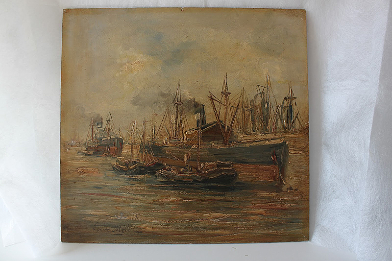 """Vista de puerto"" Óleo/tabla Evert Moll"