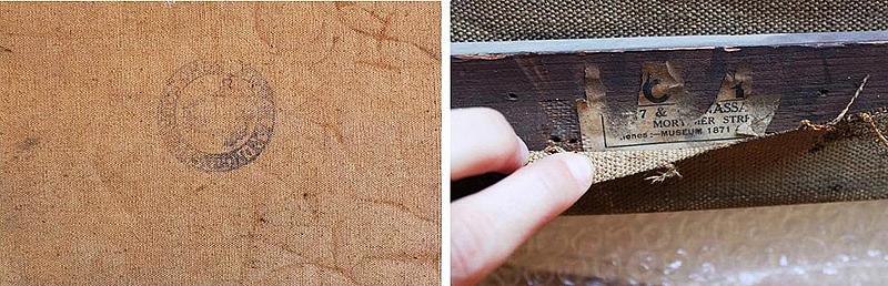 Elementos que aportan información sobre la obra:  El sello en el reverso del lienzo nos indica el fabricante del mismo. Las etiqueta en el bastidor nos hablan de los lugares donde ha sido expuesto el cuadro.