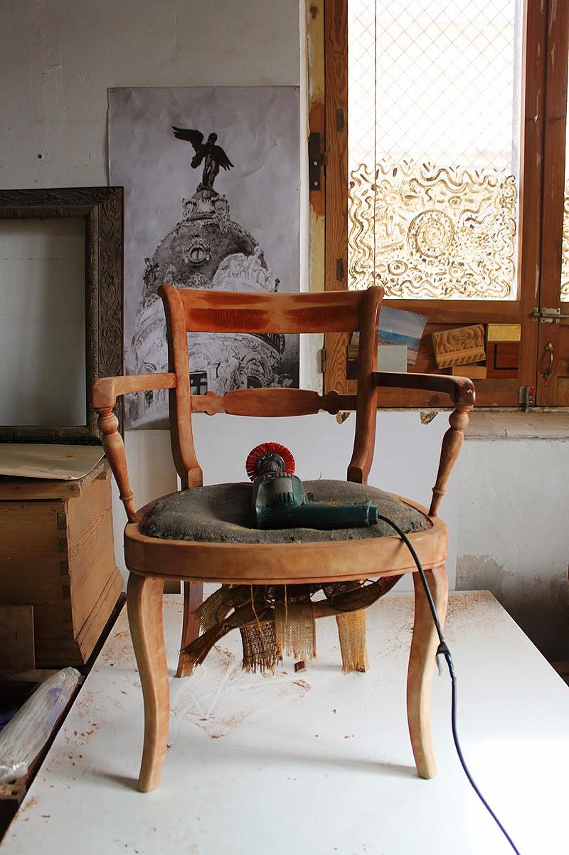 silla madera lavada