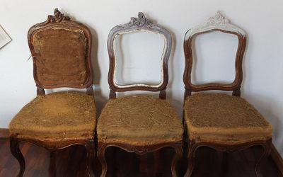 Así se transforman unas sillas isabelinas originales en vintage